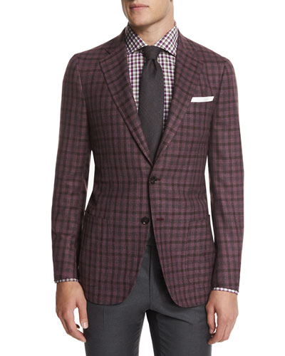 Dustin Check Two-Button Sport Coat, Lavender/Brown