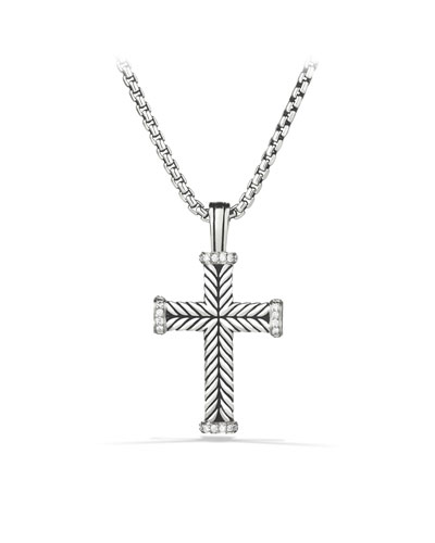 Chevron Cross with Diamonds on Chain