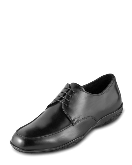 100% guaranteed online Prada Round-Toe Leather-Trimmed Oxfords geniue stockist cheap price YEPzwmUzbH