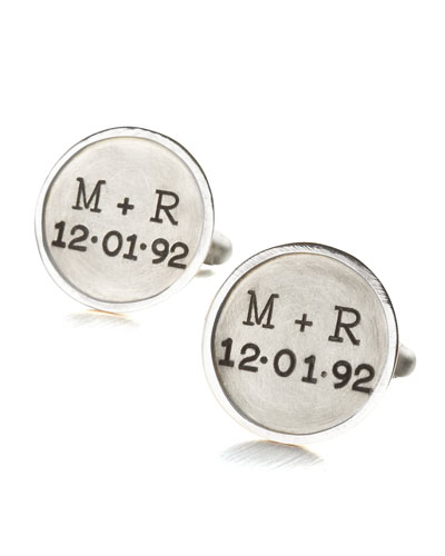 Personalized Round Cuff Links, 2 Lines, Silver