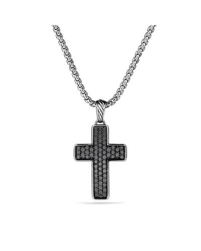 Pav?? Chevron Cross with Black Diamonds on Chain