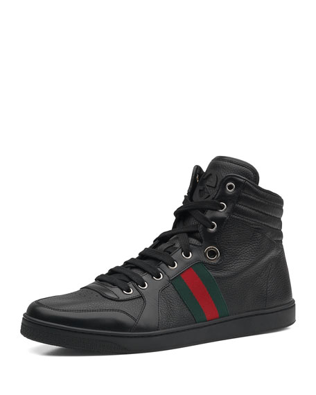 d0c4f971fec Gucci Leather High-Top Sneaker, Black