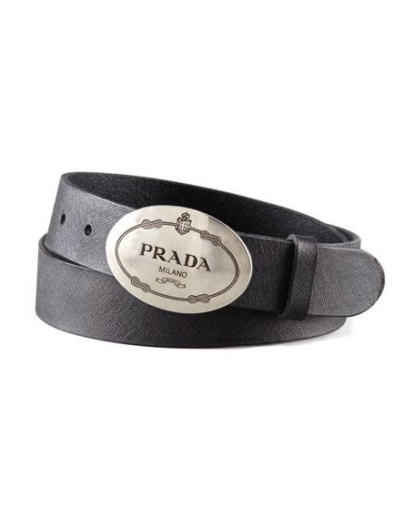 Oval buckle belt - Black Prada 2CqI7