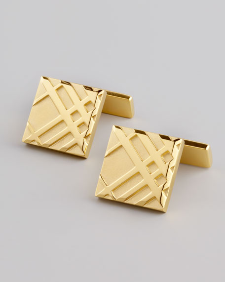 Embossed Check Cuff Links, Gold