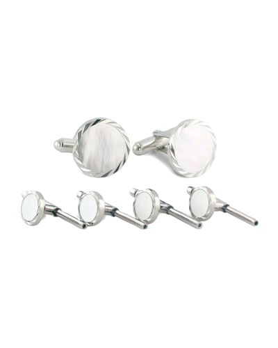 Mother-of-Pearl Cuff Links & Studs Set