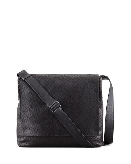 Bottega Veneta Men S Intrecciato Collage Messenger Bag Black