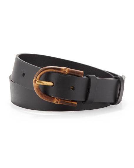 0c3c22986 Gucci Bamboo-Buckle Leather Belt, Black