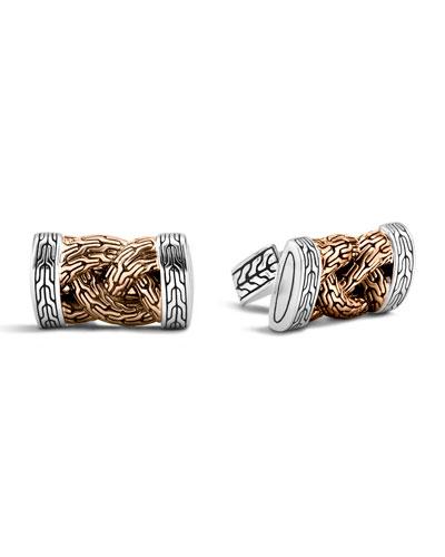Bronze & Sterling Silver Braid Cuff Links