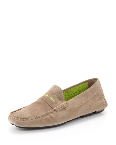 3b0aafb0611e8 Manolo Blahnik Men's Roadster Suede Driver Loafer, Tan/Lime