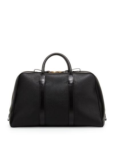 Wide-Zip Trapeze Duffle Bag, Black