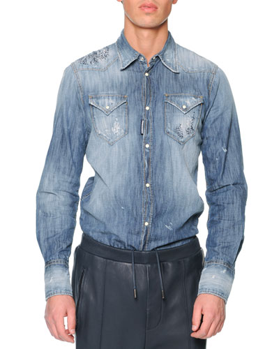 Distressed Denim Shirt, Blue