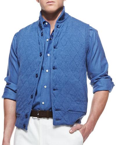 Cashmere Quilted-Diamond Vest, Blue