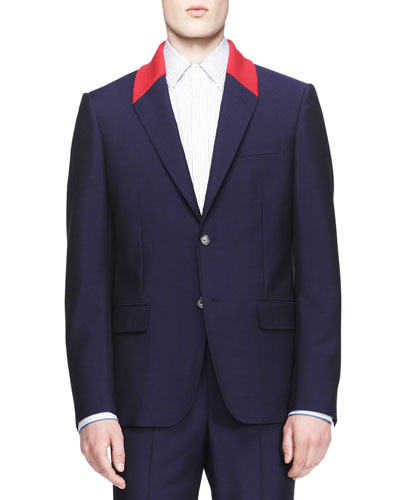 Contrast Collar Two-Button Jacket
