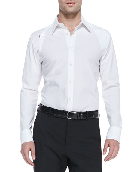 844ddfbf65c7 Alexander McQueen Long-Sleeve Harness Shirt, White