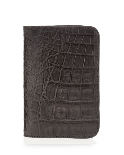 Crocodile Foldover Card Case, Gray
