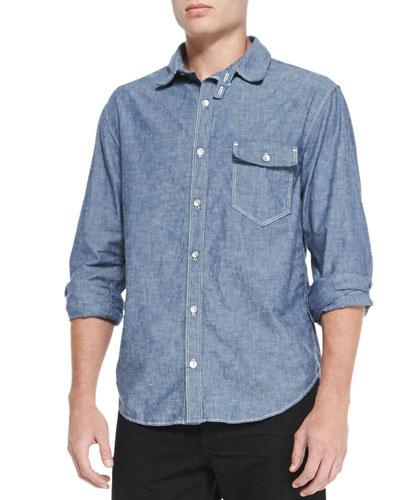 Button-Down Chambray Shirt, Indigo