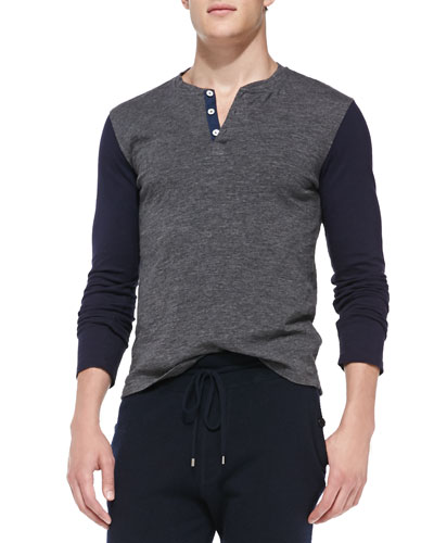 Colorblock Long-Sleeve Henley, Gray
