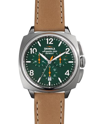 40mm Brakeman Chronograph Watch, Green/Brown