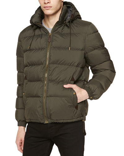 Quilted Puffer Jacket with Detachable Hood, Olive