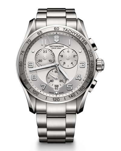 Chrono Classic XLS Stainless Chronograph Watch with Silver Dial