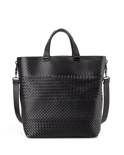 Men's Woven Open Shopper Tote Bag, Brown