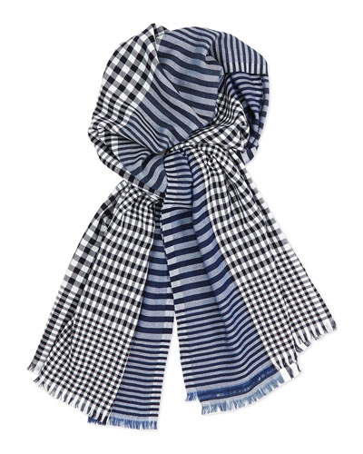 Men's Stripe/Check Wool-Blend Scarf, Navy