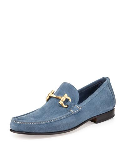 Giordano Suede Gancini Loafer, Light Blue