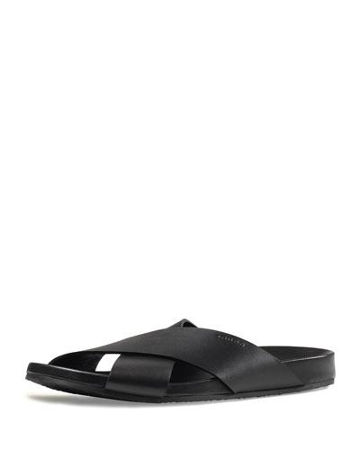 Leather Crossover Sandal, Black