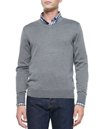 Cashmere-Silk V-Neck Sweater, Gray/Blue