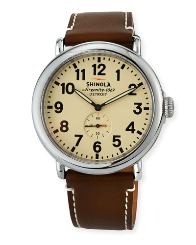 47mm Runwell Men's Watch, Cream/Dark Brown