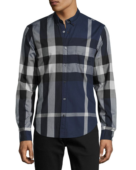 d71ab9b229cc Burberry Brit Exploded Check Button-Down Shirt, Ink