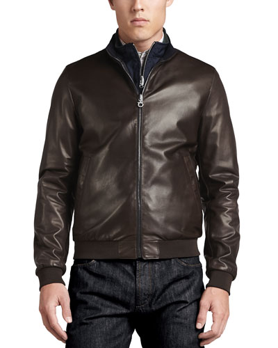 Reversible Leather to Nylon Bomber Jacket, Chocolate/Navy