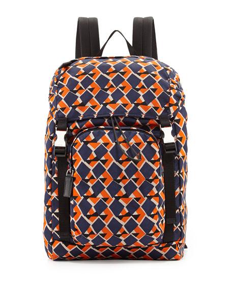624d7f348422f Prada Geometric-Print Nylon Double-Buckle Backpack