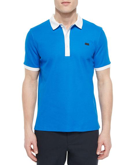 678b5a37 Burberry London Short-Sleeve Contrast-Collar Polo Shirt, Blue