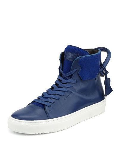 125mm Cavalino High-Top Leather Sneaker with Padlock, Blue/White