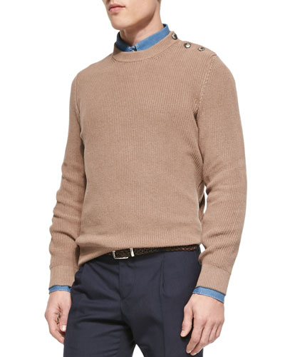 Ribbed Knit Sweater with Crested Buttons, Camel