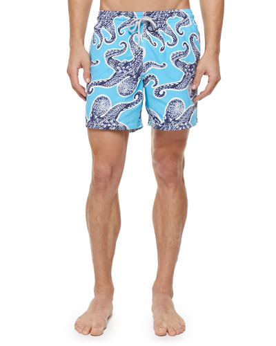 Moorea Octopus-Print Swim Trunks, Blue