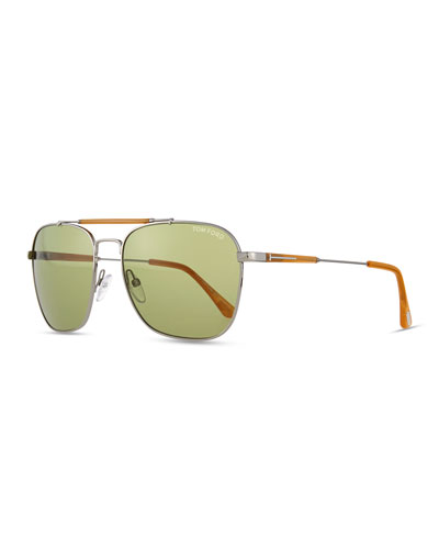 Edward Square Sunglasses, Ruthenium/Honey