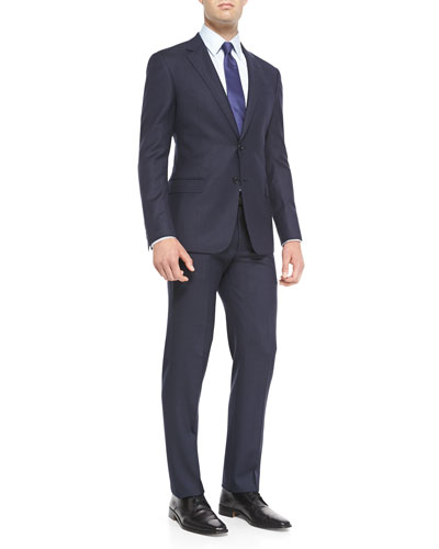 G-Line Birdseye Suit with Pinstripe, Navy