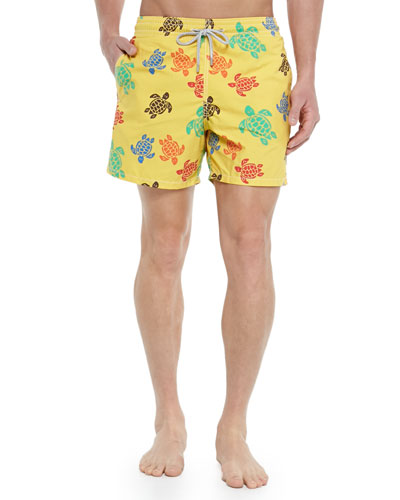 Moorea Turtle-Print Swim Trunks, Yellow