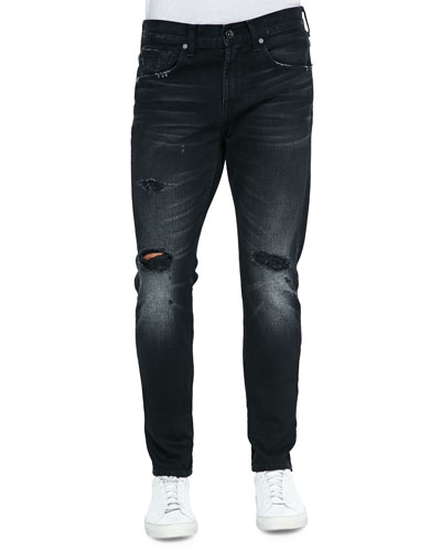 Paxtyn Destroyed Denim Jeans, Black