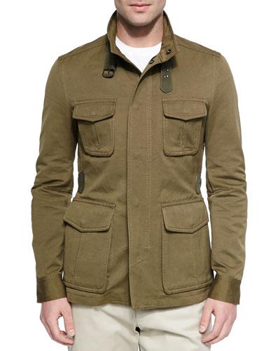 Cotton-Linen Field Jacket, Olive
