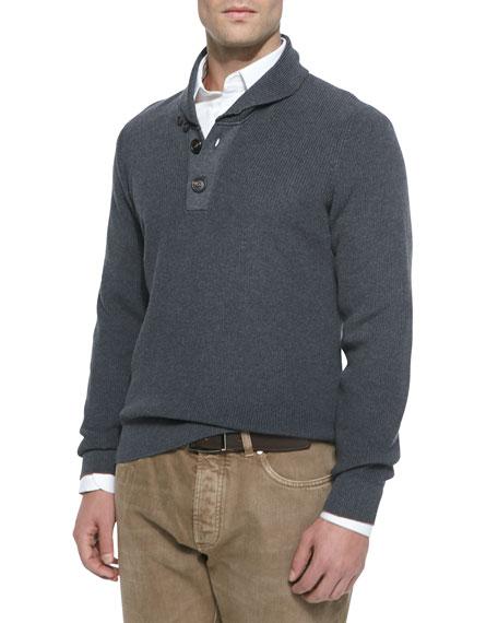 942d9e6e77df Brunello Cucinelli Chunky Shawl-Collar Pullover Sweater
