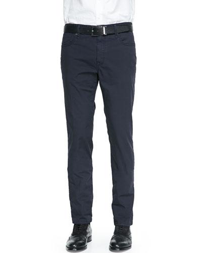 Cotton Twill 5-Pocket Jeans, Navy