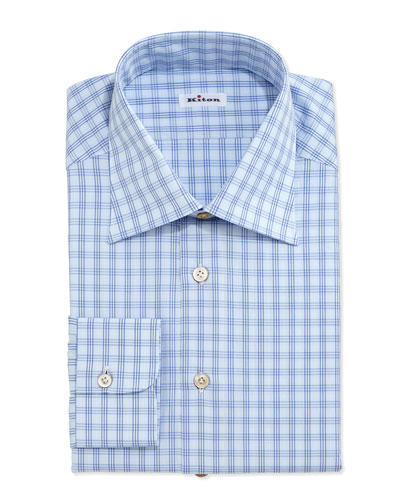 Check Poplin Dress Shirt, Light Blue/Navy