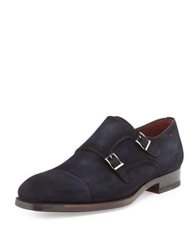 Suede Double-Monk Loafer, Navy