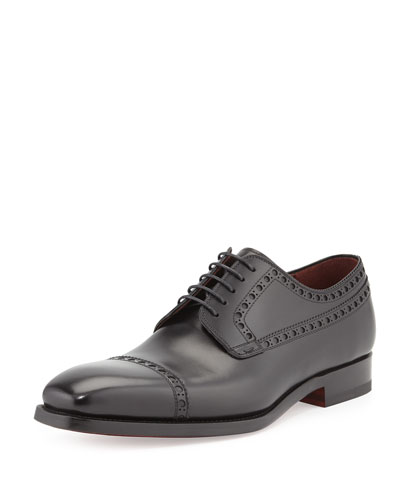 Perforated Cap-Toe Lace-Up, Black