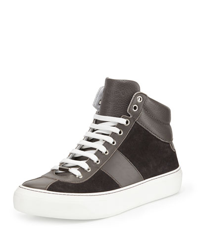 Suede High-Top Sneaker, Gray