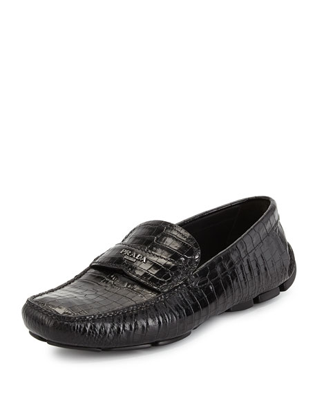 Prada Leather Embossed Loafers cheap sale shop I0IcNgEnB