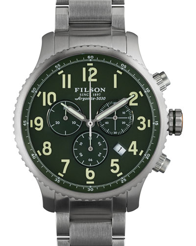 43mm Mackinaw Field Chrono Watch with Link Bracelet, Green